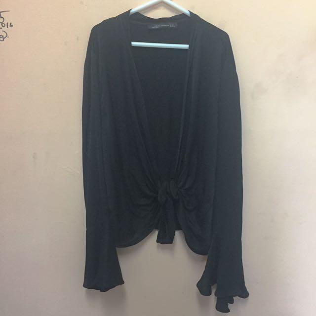 ZARA Black Silk Bell Sleeve Tie Up Blouse