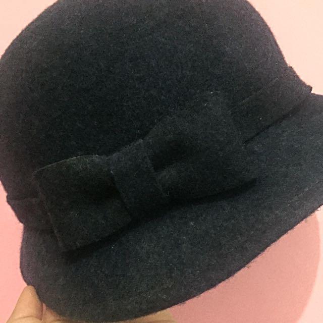 Zara Navy Blue Round Bow Hat