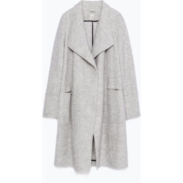 Zara wool grey waterfall drape coat size small