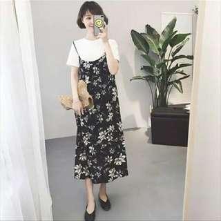 新款韓版顯瘦小清新碎花A字雪紡裙吊帶背心裙