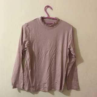 DUSTY PINK LONG SLEEVES T SHIRT