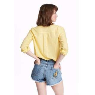 [全新] H&M 黃色棉質襯衫*薄透款