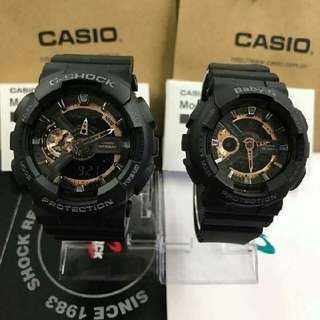 GSHOCK & BABY G COUPLE WATCH BLACK ROSEGOLD