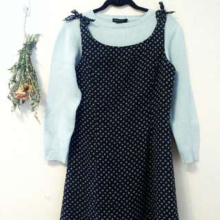 Baby Blue Sweater & Dark Blue Print Dress Outfit