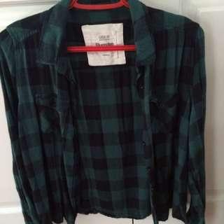 green and black plaid shirt - Bluenotes