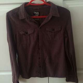 grey and burgundy button up - tna
