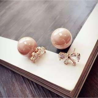 Sparkling Glass Ribbon Pink Pearl Dual Method Earrings