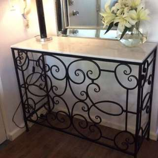 Brand new natural white marble topped Console