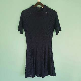 Valleygirl Navy Blue Short Sleeved Dress