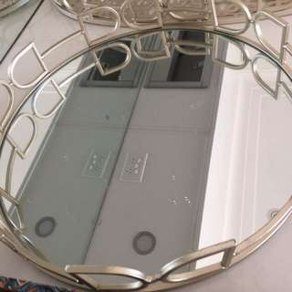 Large Round Mirrored Serving Tray
