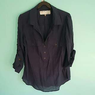 Rivers Navy Blue Button Up Blouse