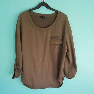 Khaki Oversized Jumper
