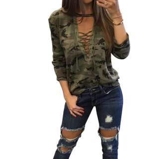 Womens Trendy Camouflage Print Lace Up T-shirt Tops - intl  (COD)