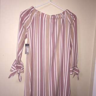 Striped over the shoulder dress xs