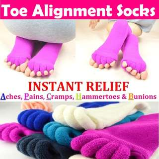 *IN STOCK* UNISEX Toe Alignment Socks (6 Colours) (2 pairs for $12)