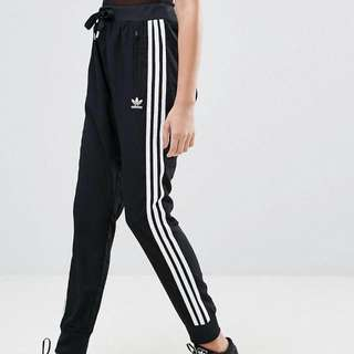 Adidas Originals Black Three Stripe Drop Crotch Pants
