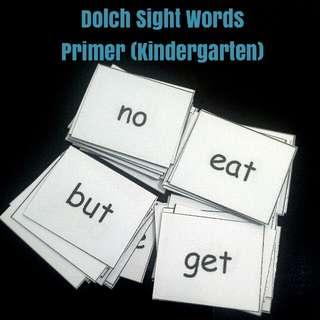 Dolch Primer(Kindergarten) Sight Words: Flash Cards