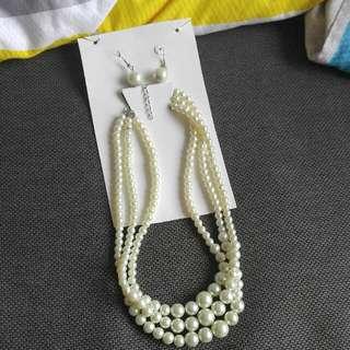 珠鏈連耳環ㄧ套