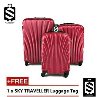 SKY TRAVELLER 3-In-1 Hard Case Shell Curve Shape Luggage