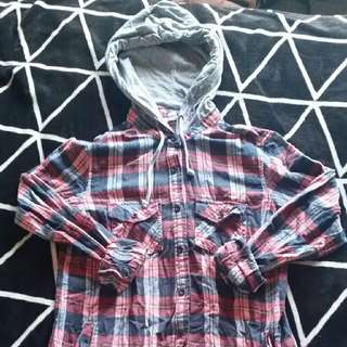 Plaid Shirt With Hood Size S
