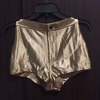 Gold High-waisted Shorts