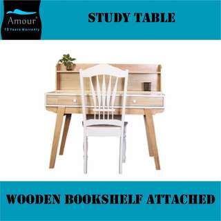 Wooden Study Table with book rack and Chair