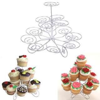 3 Layer 12-Cup Cupcake Stand (Silver)