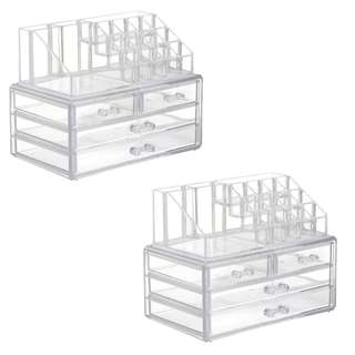 Acrylic Jewelry&Cosmetic 4 Drawers Storage Boxes Two Pieces