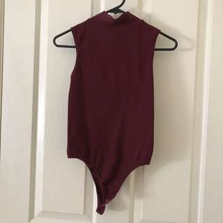 Valley girl Maroon Turtle Neck Ribbed Bodysuit