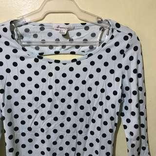 F21 polka dots long sleeves