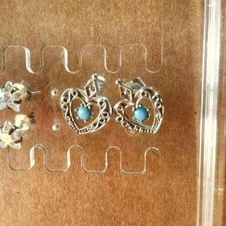 💙H&M藍石心心耳環