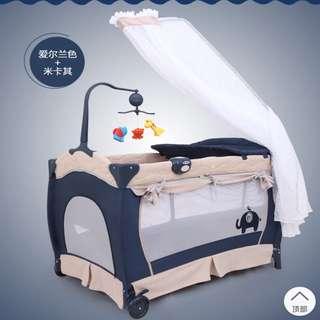 頂級豪華款 #多功能#嬰兒床 #遊戲床 #折疊床 免運送床墊