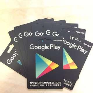 Google Play Gift card $150 9折 禮蜜卡