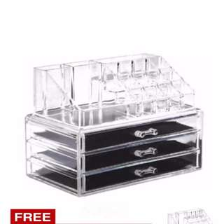 Acrylic Cosmetic Organizer 3 Drawers Drawer Makeup Storage
