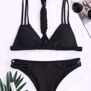 Black slim line braided bikini