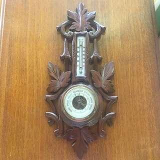 古董實木溫度濕度計