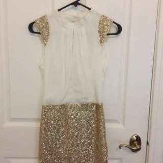 White/gold Sequin Dress