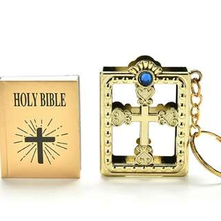 Mini Holy Bible Miniature Paper Spiritual Christian Jesus Keychain Keyring
