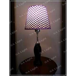 Lampu Meja Hias Dekorasi - Loyal Kap Ungu Jaring Special