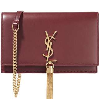 SAINT LAURENT Monogramme Kate chain and tassel wallet small leather shoulder bag YSL 翻蓋信封斜孭手提兩用深紅鏈條小手袋