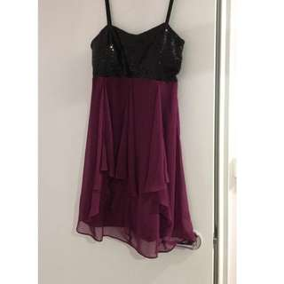 Beautiful sequence purple and black dress