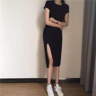 歐美😘極簡側開叉修身連身洋裝