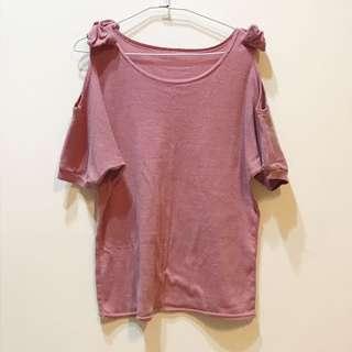 挖肩素色上衣 粉色/可可灰