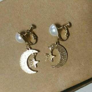 🌜 星星月亮 金屬夾式耳環