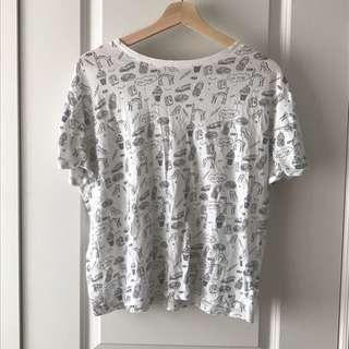 Zara Graphic Doodle Print T-shirt