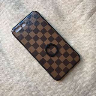 LV Damien Ebene Print Phone Cover for iPhone with ring holder