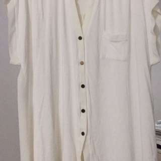 White Plus Size Sheer Button Up Top