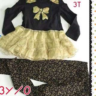 Tutu Ribbon Blouse and Leggings 3T, 4T, 5T