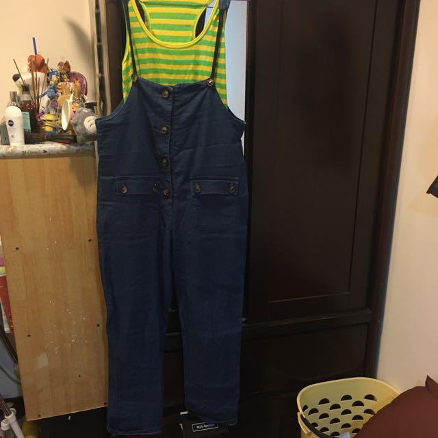 牛仔吊帶褲