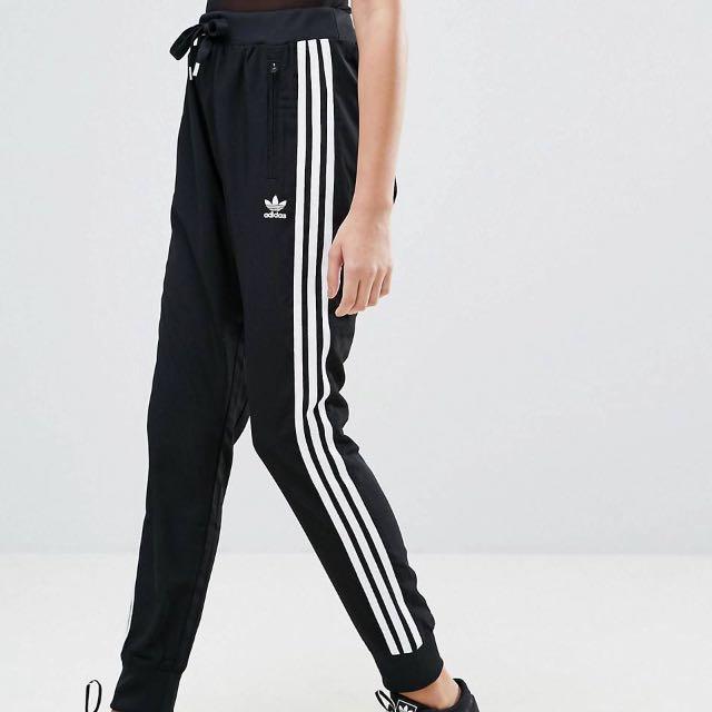 Adidas Originals Black Three Stripe Drop Crotch Pants